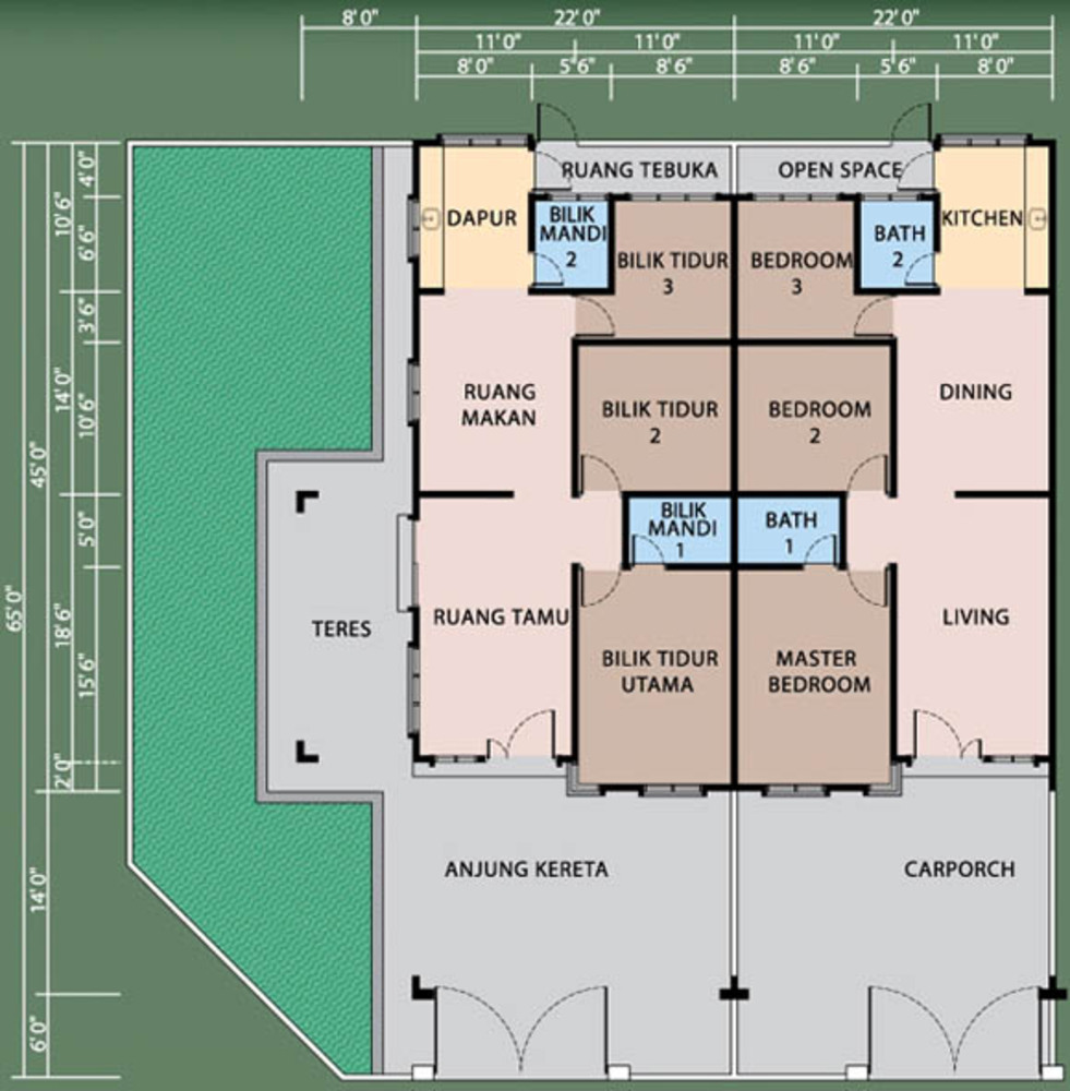 Review for Suria Hill Chemor – Single Storey Terrace House Floor Plan