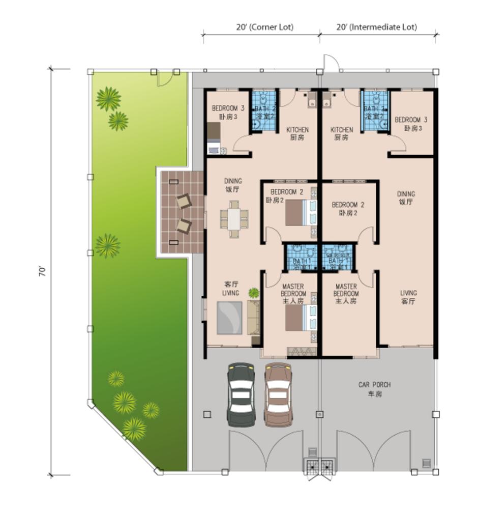 Review for Taman Mengkibol Kluang – Single Storey Terrace House Floor Plan