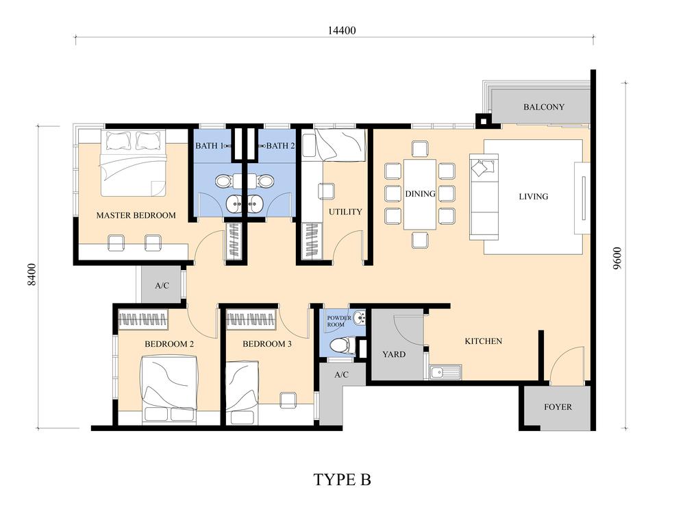 Iris Residence Type B Floor Plan
