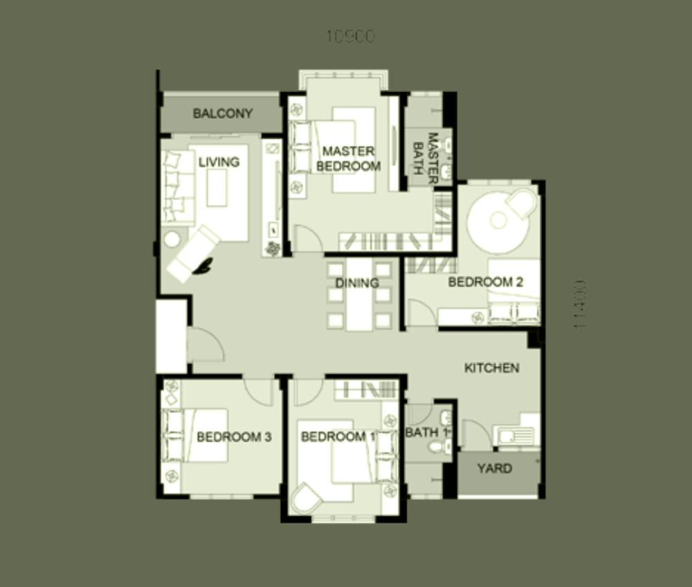 South Bayu Residences Town Villa Floor Plan