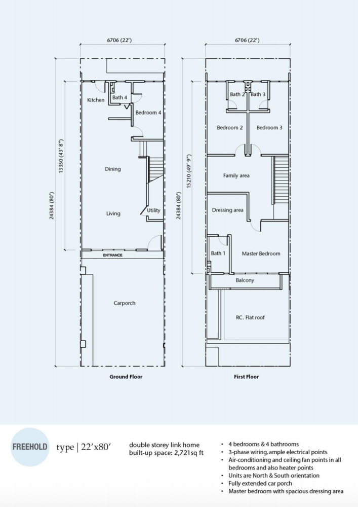 Rimbun Vista Type A (22' x 80') Floor Plan