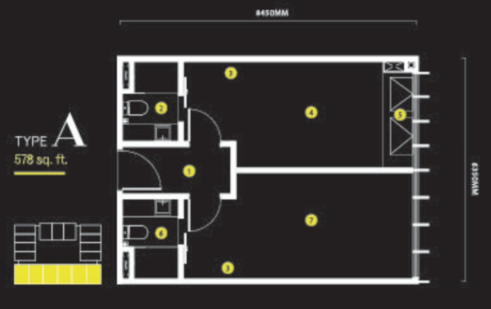 Ceylonz Suites Type A Floor Plan