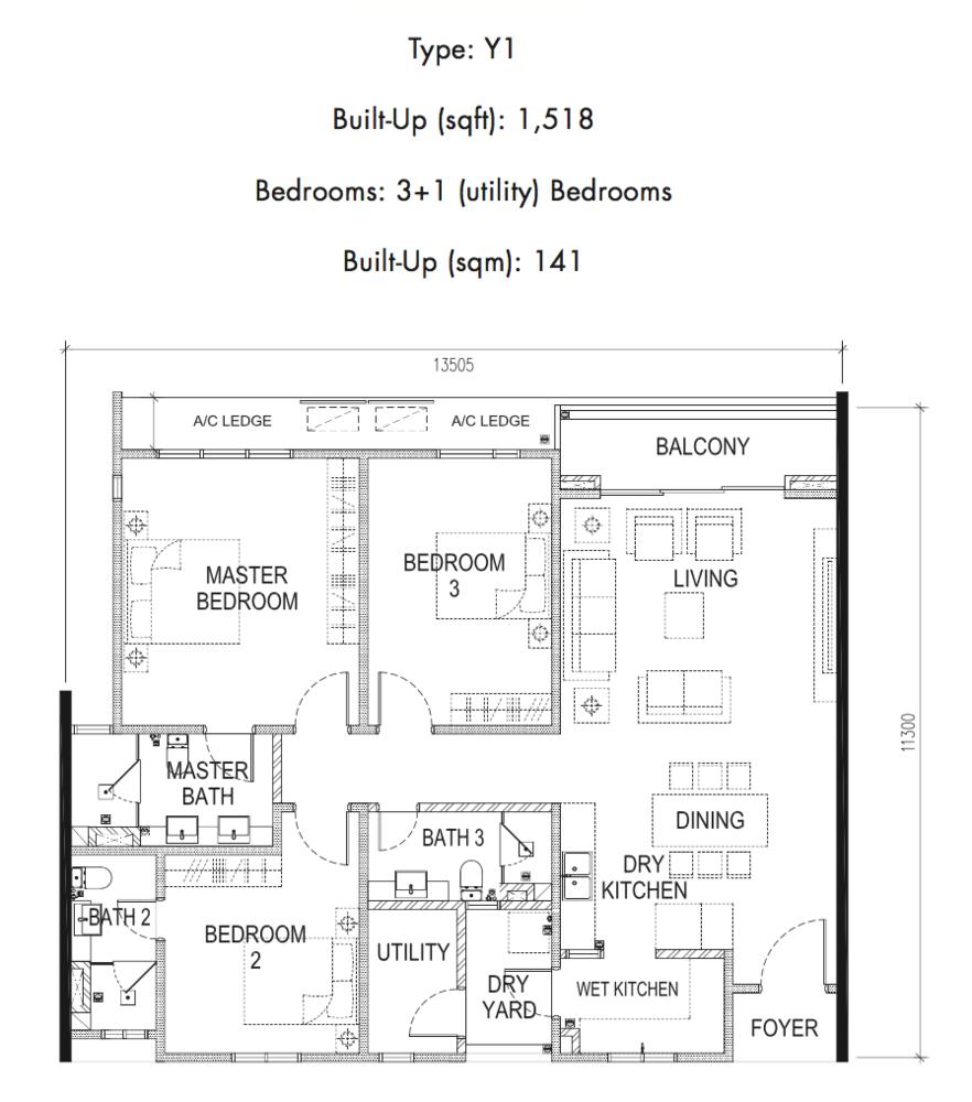 Tria Residences @ 9 Seputeh Pelto Type Y1 Floor Plan