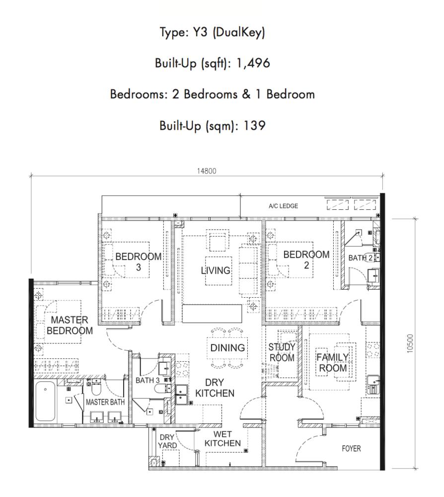 Tria Residences @ 9 Seputeh Pelto Type Y3 Floor Plan