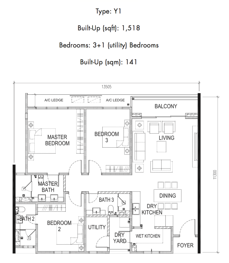 Tria Residences @ 9 Seputeh Ebon Type Y1 Floor Plan