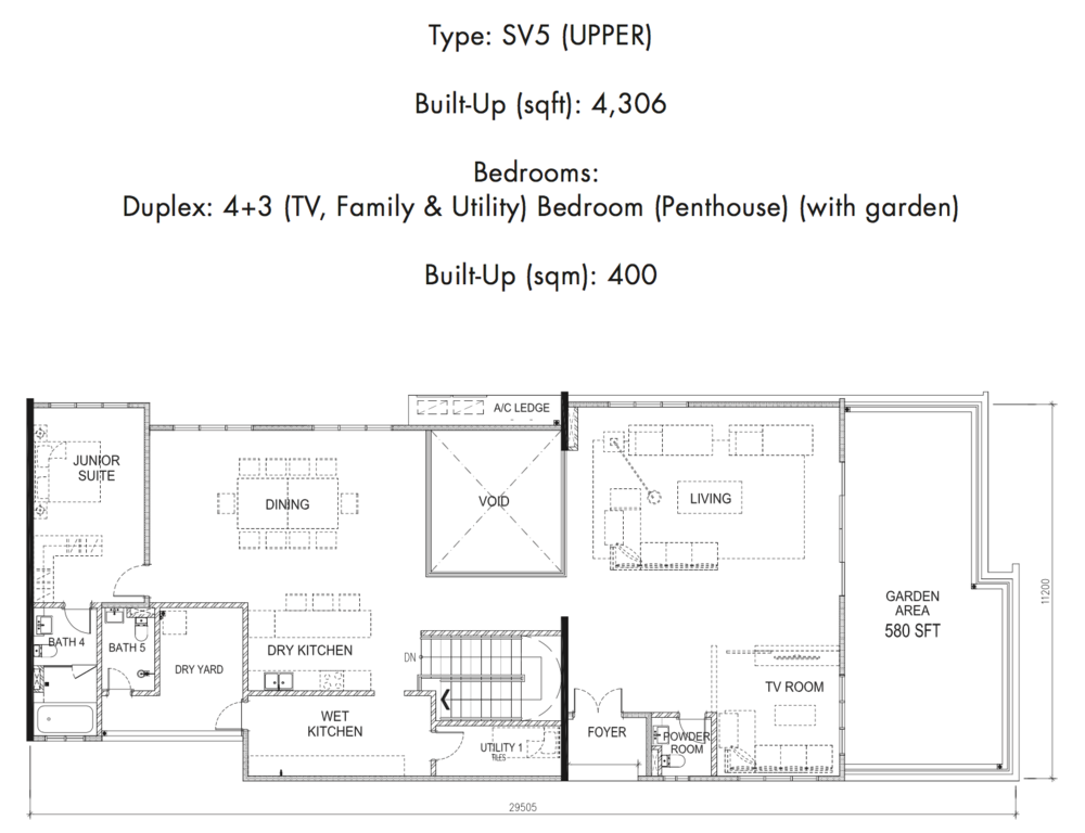 Tria Residences @ 9 Seputeh Ebon Type SV5 Upper Floor Floor Plan