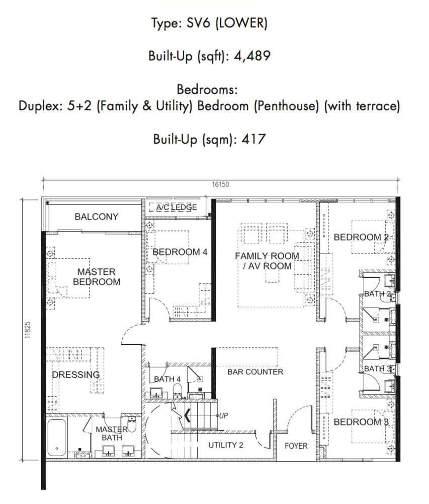 Tria Residences @ 9 Seputeh Ebon Type SV6 Lower Floor Floor Plan