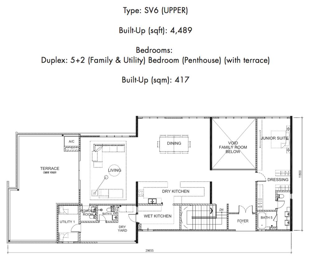 Tria Residences @ 9 Seputeh Ebon Type SV6 Upper Floor Floor Plan