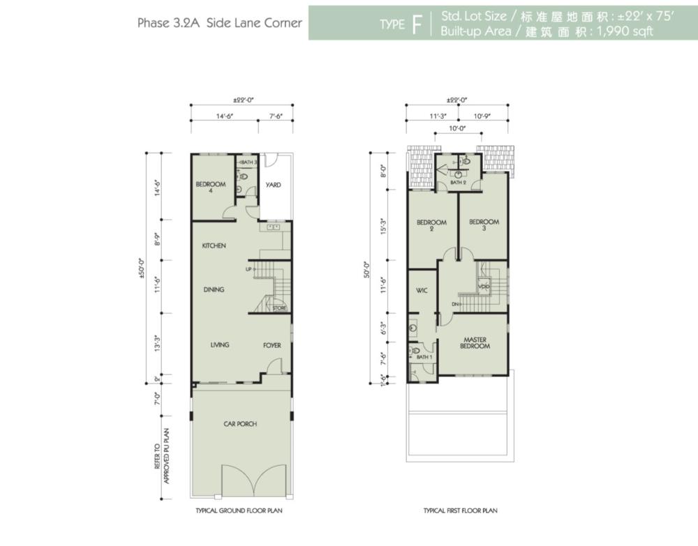 Bandar Seri Botani Seri Bougainvillea Phase 3.2A Type F Floor Plan