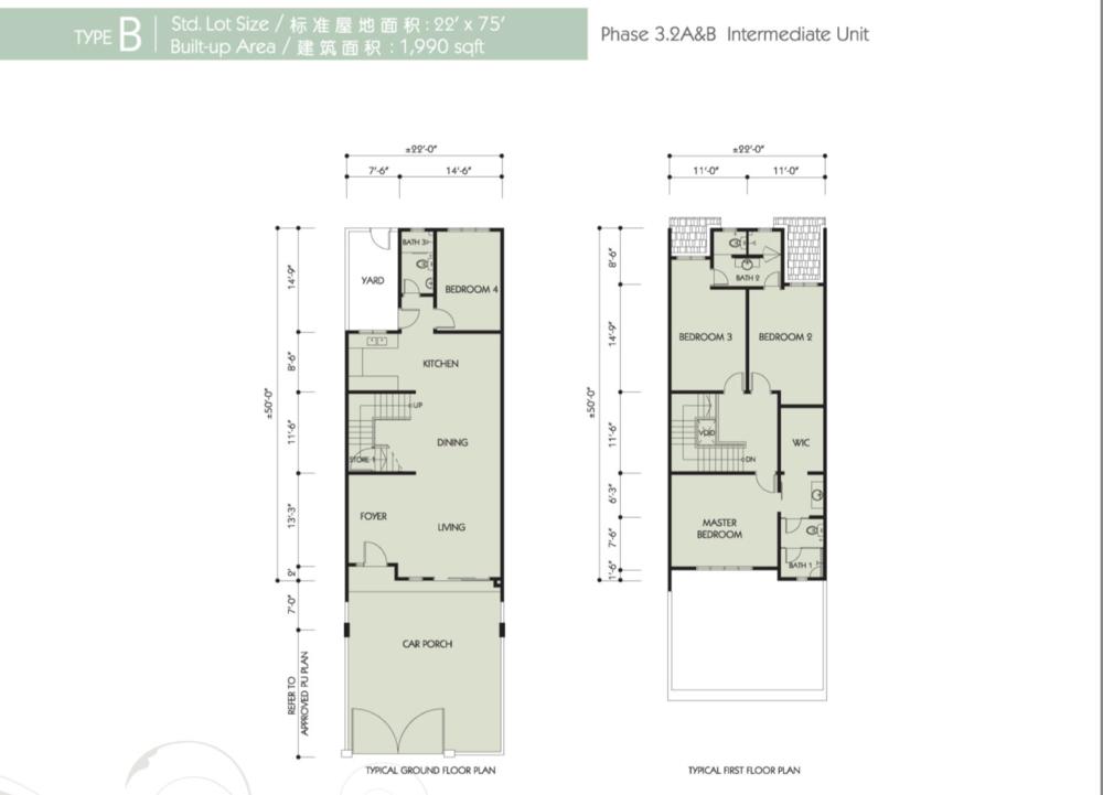Bandar Seri Botani Seri Bougainvillea Phase 3.2A & B Type B Floor Plan