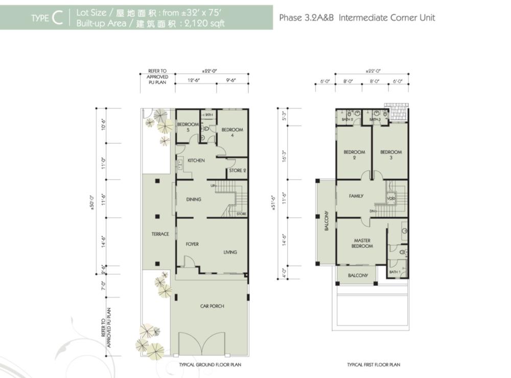 Bandar Seri Botani Seri Bougainvillea Phase 3.2A & B Type C Floor Plan