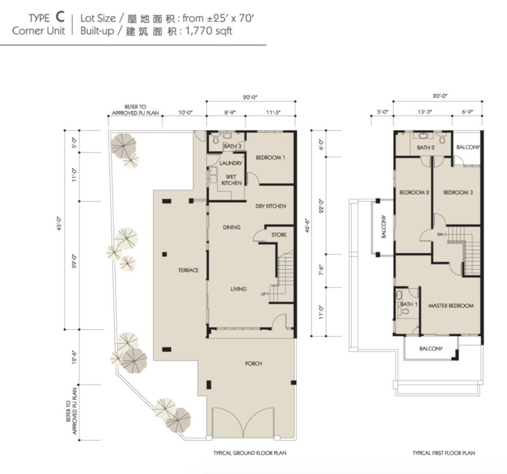 Bandar Seri Botani Seri Sutera Phase 8.1A Type C Floor Plan