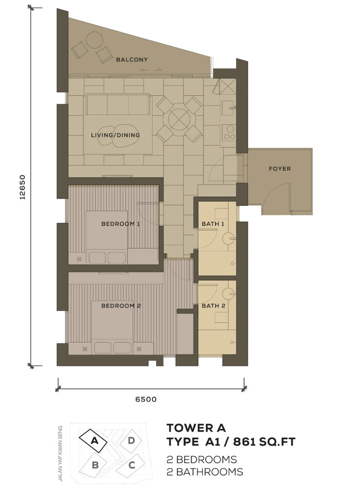 Isola KLCC Type A1 Floor Plan
