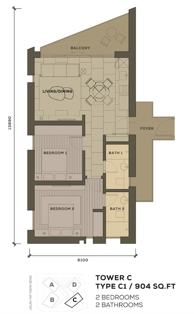 Isola KLCC Type C1 Floor Plan