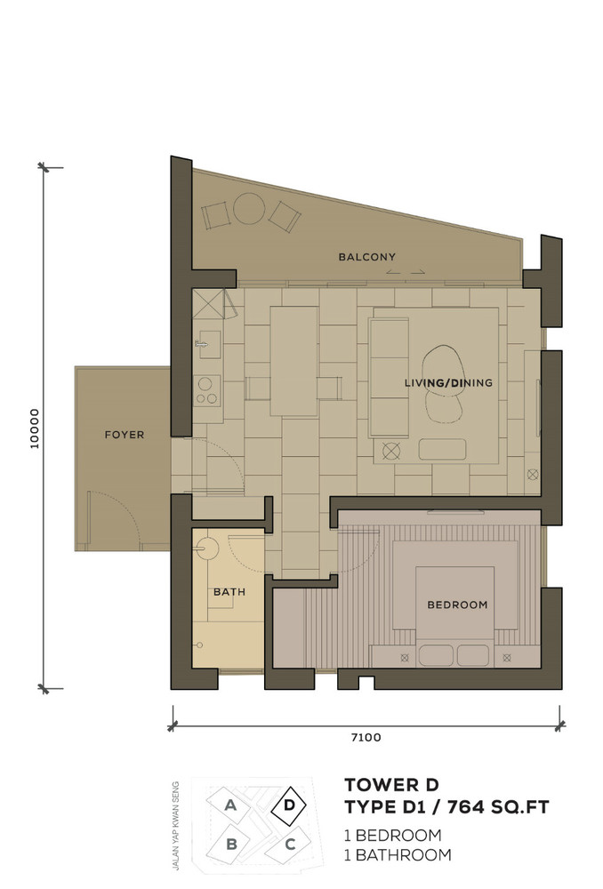Isola KLCC Type D1 Floor Plan