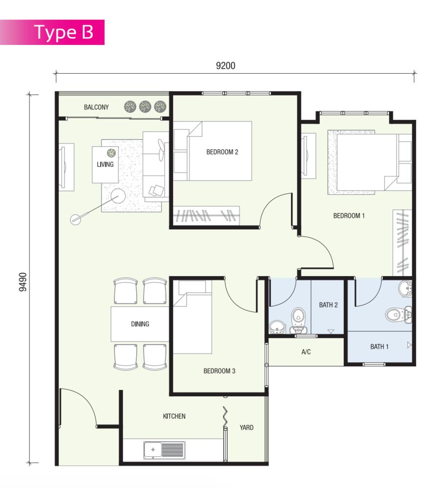 SkyAwani 2 Type B Floor Plan