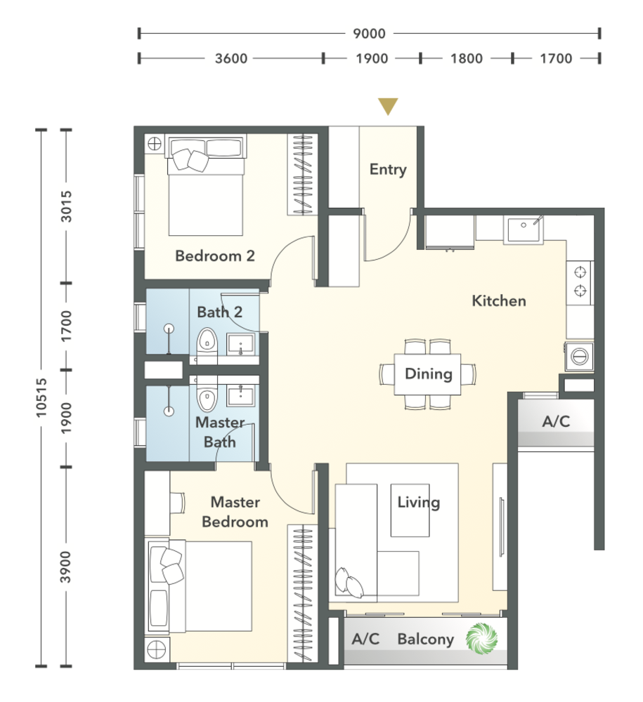 South Brooks Type A1 Floor Plan