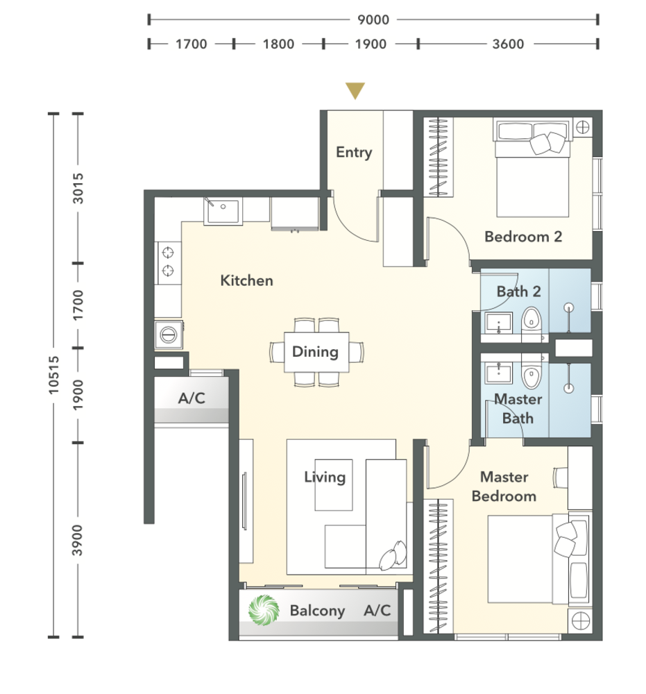 South Brooks Type A1-h Floor Plan