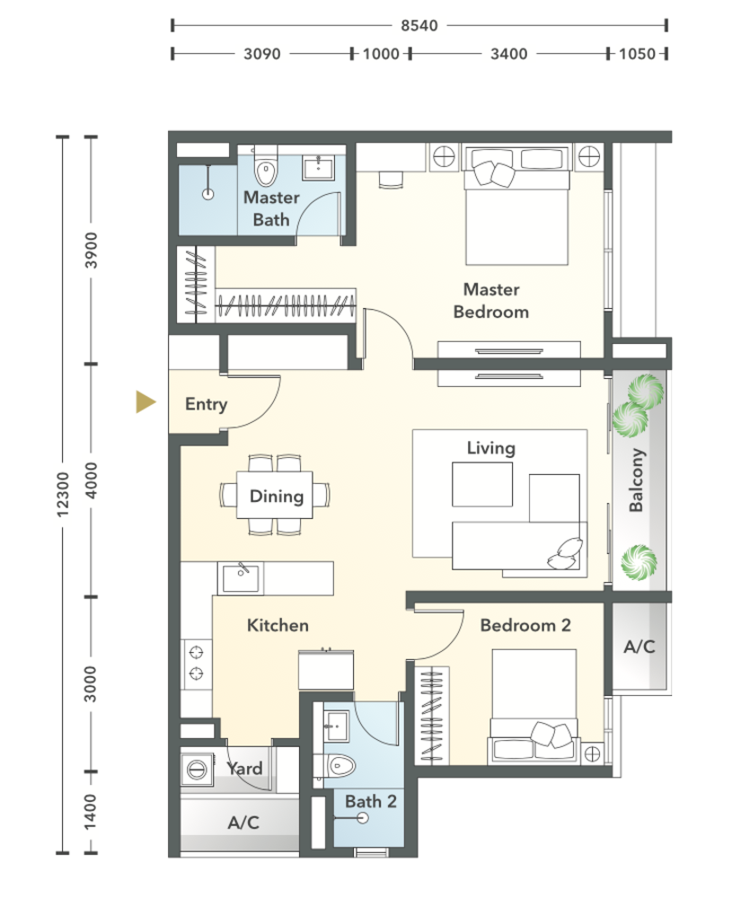 South Brooks Type A2-h Floor Plan