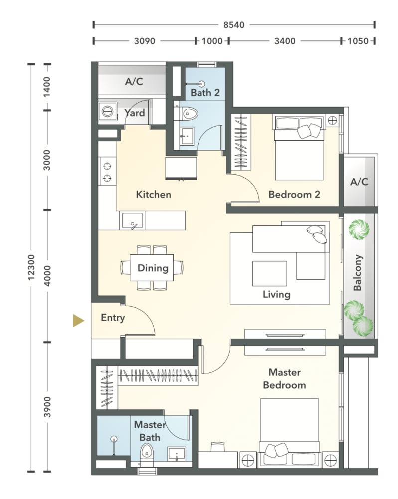 South Brooks Type A2a Floor Plan