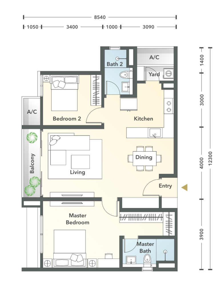 South Brooks Type A2a-h Floor Plan