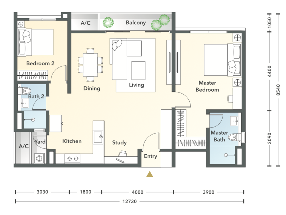 South Brooks Type B1 Floor Plan