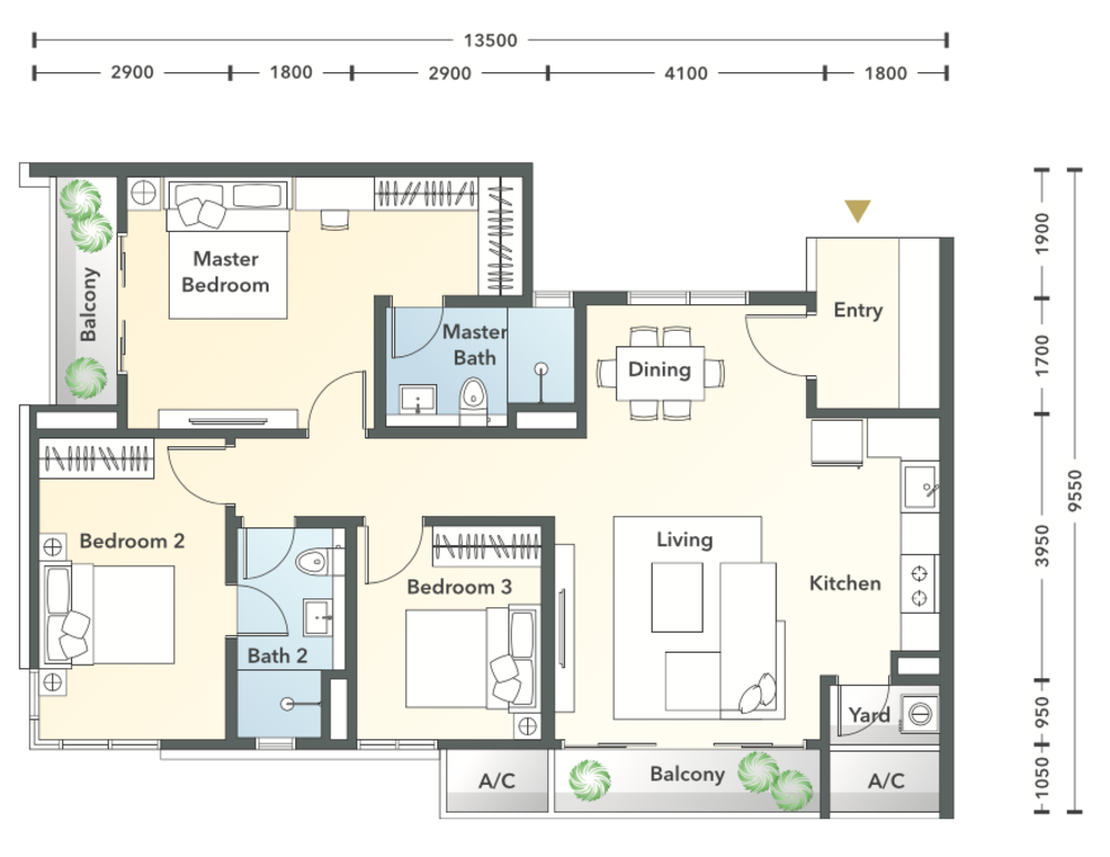 South Brooks Type B2-h Floor Plan
