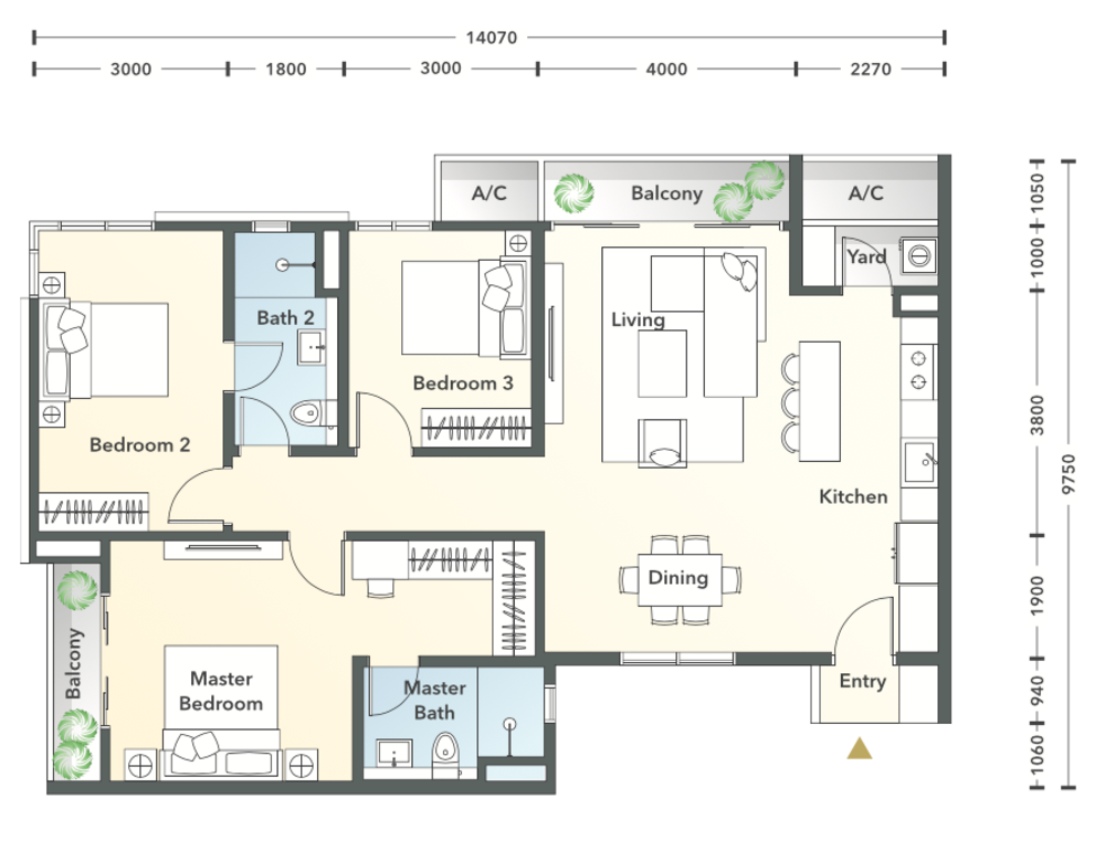 South Brooks Type C1 Floor Plan
