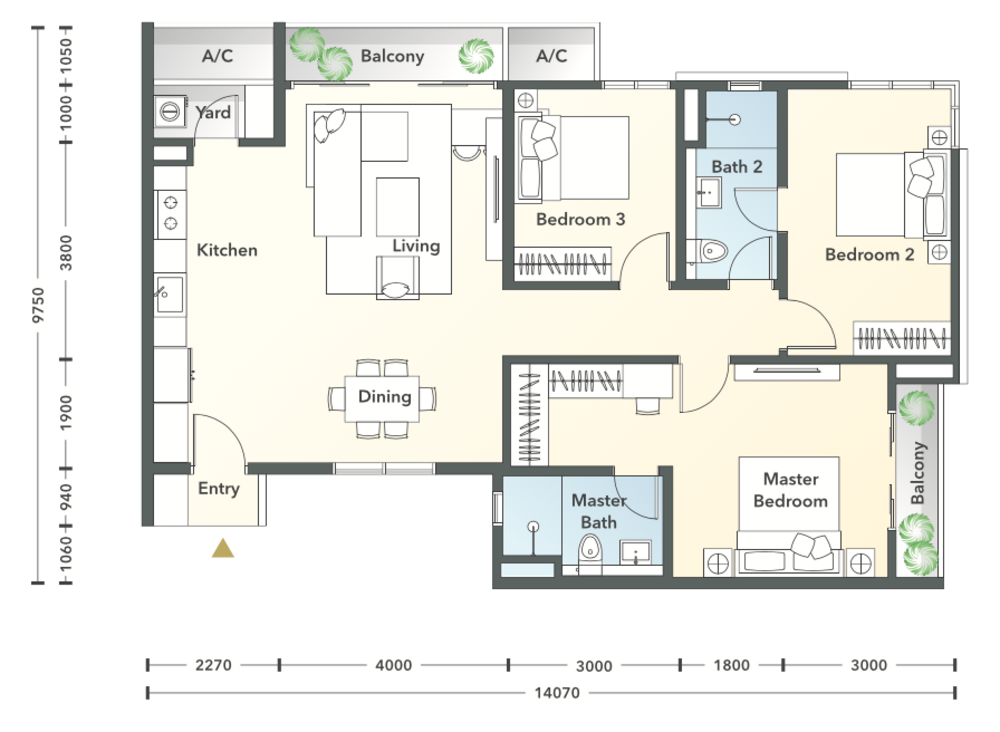 South Brooks Type C1-h Floor Plan