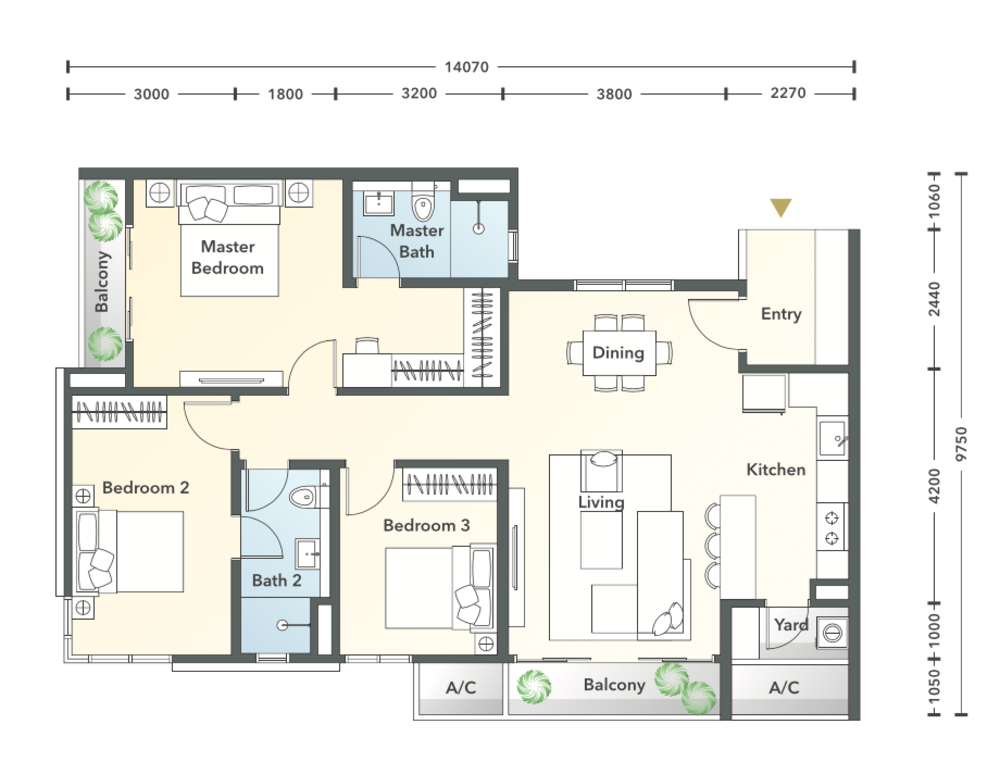 South Brooks Type C1a Floor Plan