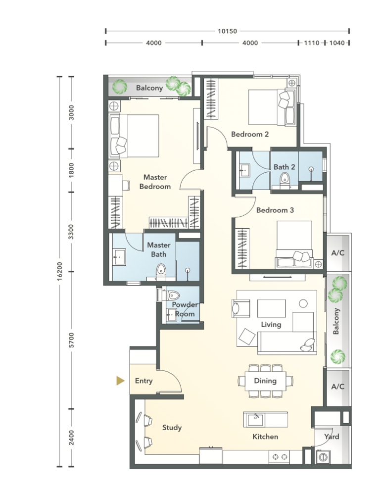 South Brooks Type D1-h Floor Plan