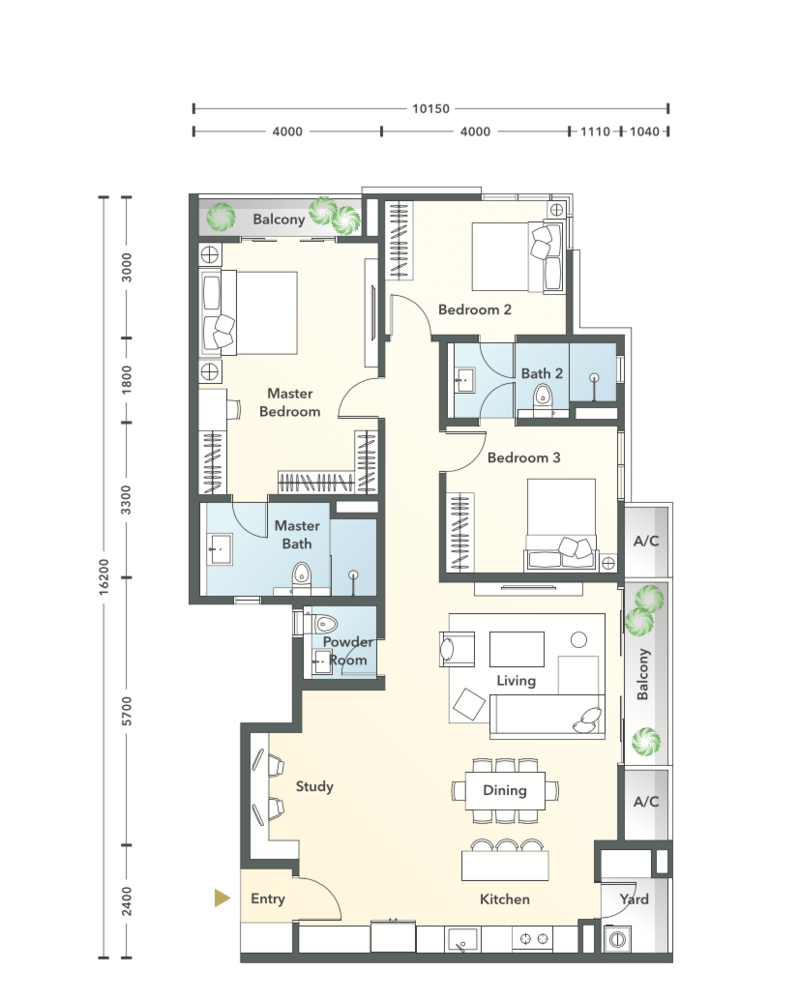 South Brooks Type D1a-h Floor Plan