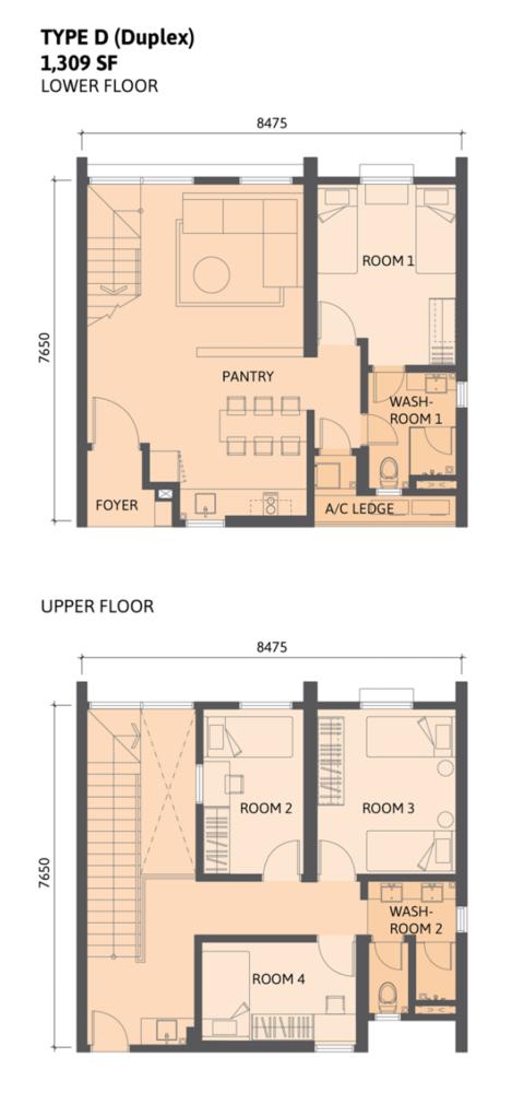 Union Suites Type D Floor Plan