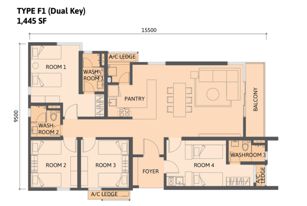 Union Suites Type F1 Floor Plan