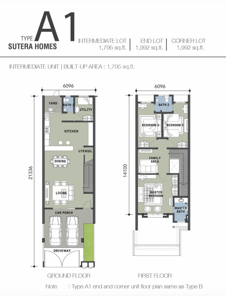 Bandar Warisan Puteri 2 Sutera Homes Type A1 Floor Plan