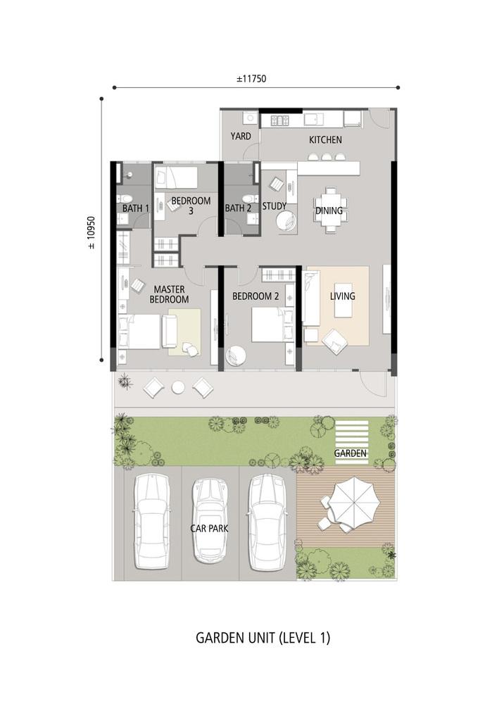 Skycube Residence Garden Unit Level 1 Floor Plan