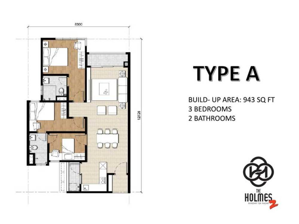 The Holmes 2 Type A Floor Plan