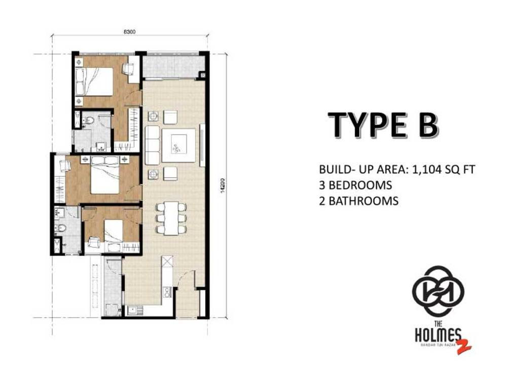The Holmes 2 Type B Floor Plan
