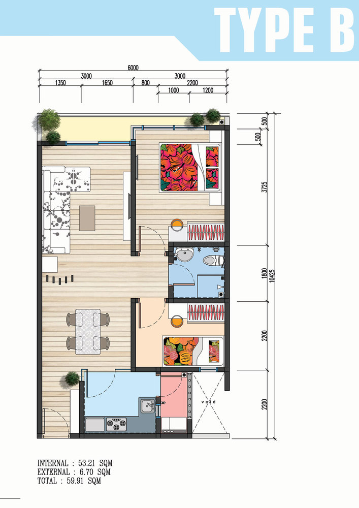 The Wave Residence Type B Floor Plan
