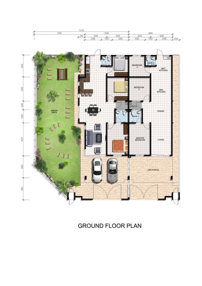 Mutiara Keruing Single Storey Type C,D,E  Floor Plan