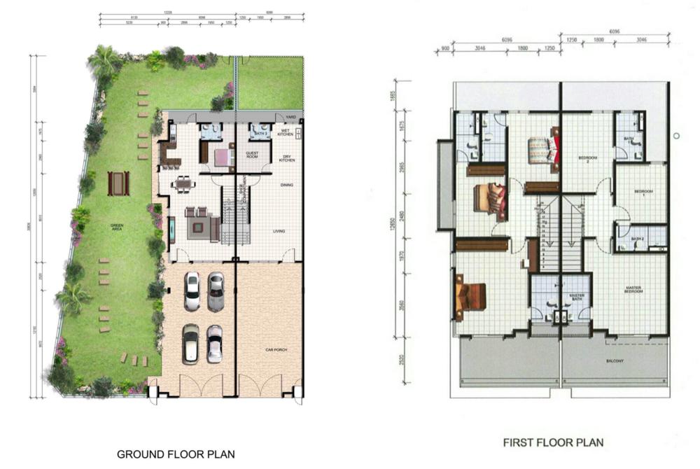 Mutiara Keruing Double Storey Terrace Type A, B  Floor Plan