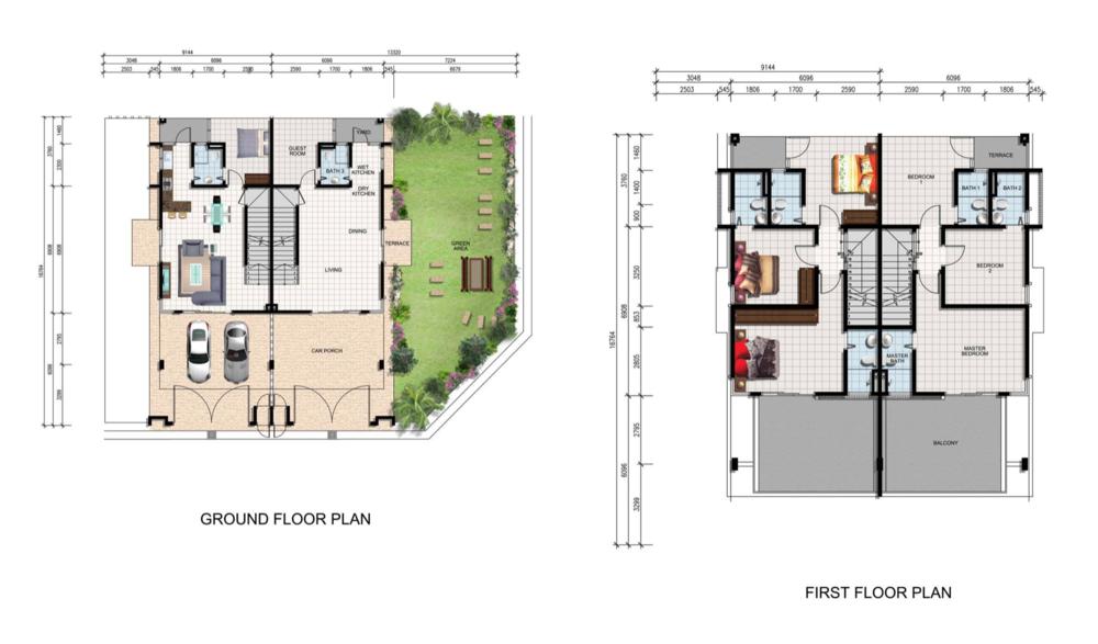 Mutiara Keruing Double Storey Cluster Type F Floor Plan