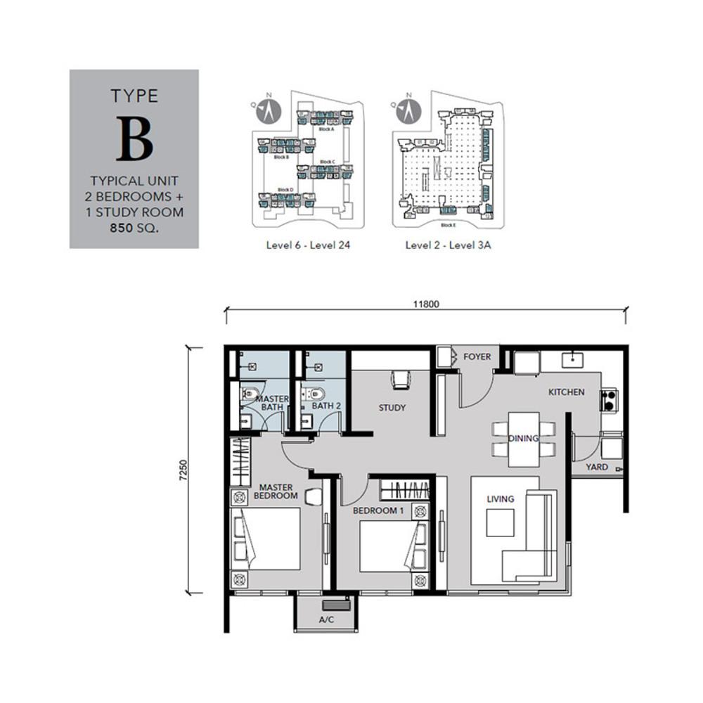 Cantara Residences Type B Floor Plan