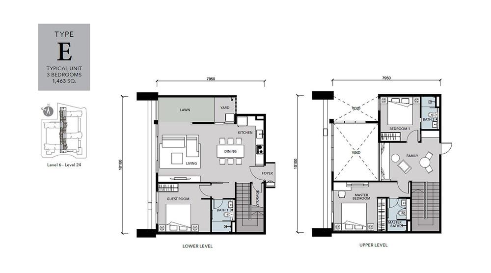 Cantara Residences Type E Floor Plan