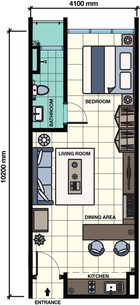 Core SoHo Suites Standard Unit Floor Plan