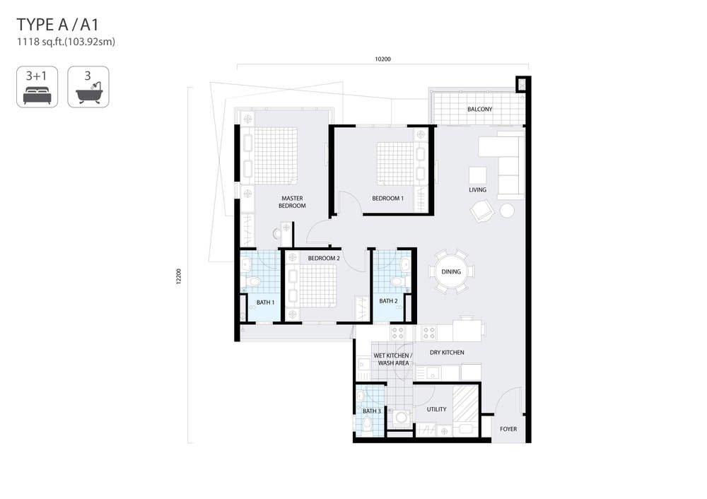 The Address Type A/A1 Floor Plan