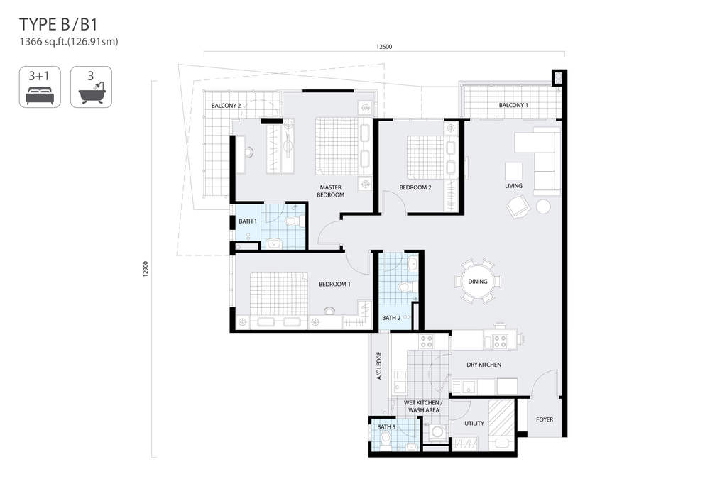 The Address Type B/B1 Floor Plan