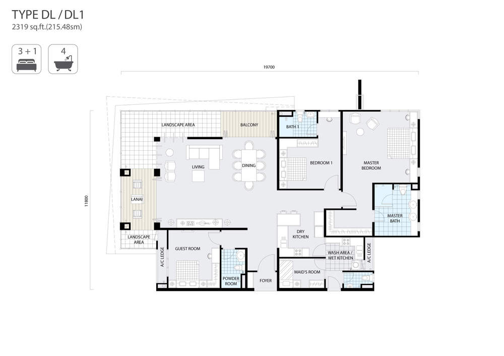The Address Type D/DL Floor Plan