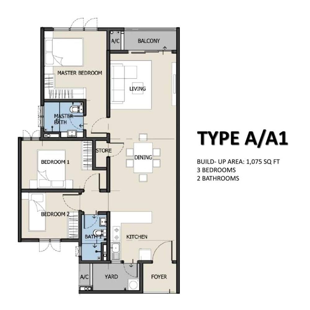 The Hermington Type A/A1 Floor Plan