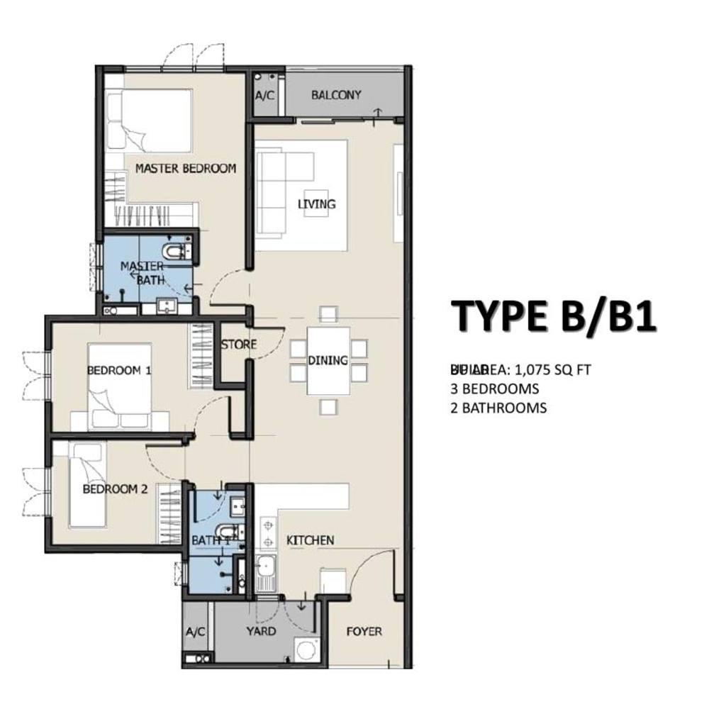 The Hermington Type B/B1 Floor Plan